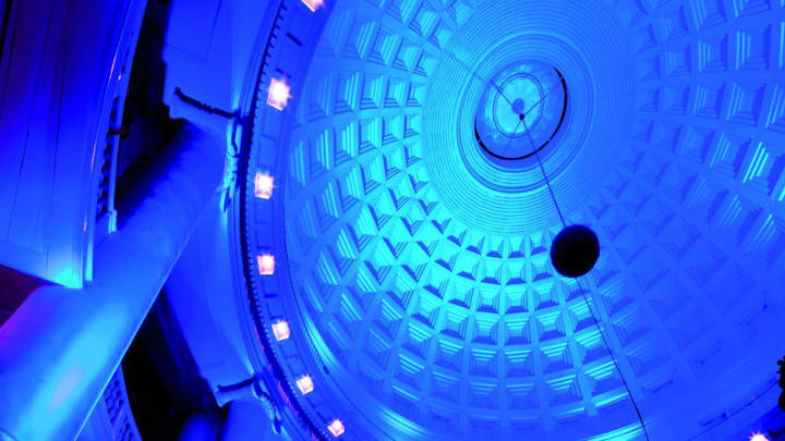 The ceiling, illuminated using Philips decorative lighting, reflects a blue hue at the Renaissance Hotel