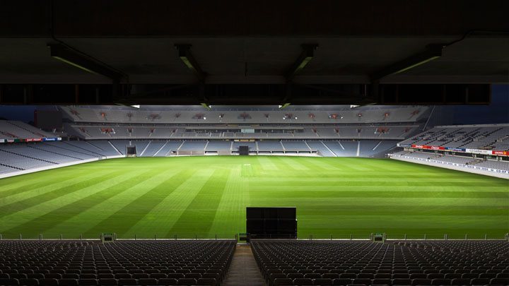 Outdoor sports stadium illuminated with Philips sports lighting